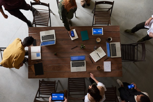 Laptops on a table
